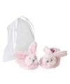Pluche roze konijnen baby slofjes